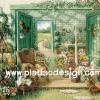 กระดาษอาร์ทพิมพ์ลาย สำหรับทำงาน เดคูพาจ Decoupage แนวภาพ บ้านและสวน green of paradise เก้าอี้หวาย ในห้องเพาะชำดอกไม้สวยสด pladao design