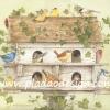 กระดาษสาพิมพ์ลาย สำหรับทำงาน เดคูพาจ Decoupage แนวภาำพ ภาพวาด บ้านนกทำงจากไม้หลังใหญ่ คอนโดนก มีนกเกาะอยู่ 13 ตัว น่ารัก (ปลาดาวดีไซน์)