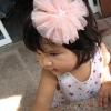 กิ๊บติดผมเด็ก ดอกไม้ฟูฟ่องสีโอลด์โรส