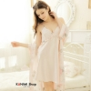 SP006 ชุดนอนกระโปรง พร้อมเสื้อคุลม สวยหวานน่ารัก สีชมพูอ่อน(ตามรูป)