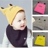 BB018 หมวกเด็ก ผ้าไหมพรมเล็ก พิมพ์ลายหน้าน้องแมว มีหูตั้ง หมวกพับได้ สวย น่ารัก มีให้เลือกหลายสี