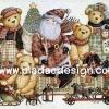กระดาษอาร์ทพิมพ์ลาย สำหรับทำงาน เดคูพาจ Decoupage แนวภาพ มวลหมู่หมี เท็ดดี้ แบร์ Teddy bear นั่งชิลชิลกับลุงแซนต้า (ปลาดาว ดีไซน์)