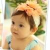 ผ้าคาดผมเด็กประดับดอกไม้สีส้มฟูฟ่อง