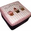 กล่องเก็บของผักตบชวาทรงจตุรัส แบบฝาครอบ ลายคัพเค้กสุดหวาน