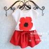 ชุดแฟชั่นเด็กเสื้อสีขาว สกรีนลายดอกสีแดง+กระโปรงสีแดง น่ารักสไตล์เกาหลี เก๋มาก