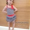 Huanzhu kids ชุดเดรสเด็กหญิง ลายริ้ว สีน้ำเงิน-ขาว น่ารัก สไตล์เกาหลี