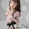 ชุดเดรส เด็กหญิงลายทางสีเทา-แดง กระโปรงลายดอกกุหลาบ น่ารัก สไตล์เกาหลี