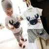 ชุดแฟชั่นเด็ก 2 ชิ้น เสื้อขาวลายปู กางเกงสีเทาน่ารัก สไตล์เกาหลี(เด็ก 6 เดือน-3ขวบ ค่ะ)