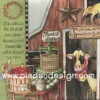 กระดาษสาพิมพ์ลาย สำหรับทำงาน เดคูพาจ Decoupage แนวภาำพ วัวจิ๊กโก๋อยู่ในฟาร์ม มีถังไม้ใส่นม ถังไม้ใส่ผลไม้ (ปลาดาวดีไซน์)