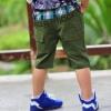กางเกงสามส่วนเด็ก สีเขียว ตกแต่งกระเป๋าด้วยรูปหมี เก๋ๆเทห์ๆ สไตล์ เกาหลี