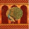 แนวภาพสัตว์ นกยูงรำแพน บนพื้นหลังแนวอินเดีย ภาพแนวสีแดง เป็นภาพแนวยาว กระดาษแนพกิ้นสำหรับทำงาน เดคูพาจ Decoupage Paper Napkins ขนาด 33X33cm