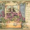 กระดาษสาพิมพ์ลาย สำหรับทำงาน เดคูพาจ Decoupage แนวภาำพ friendship นกน้อยคู่รัก บินเล่นอยู่บนกระถางดอกมอร์นิ่งกลอรี่สีม่วง ที่อยู่ริมหน้าต่าง (ปลาดาวดีไซน์)