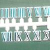 ชุดตัวเลขสำหรับประกอบนาฬิกา เลขโรมัน สีฟ้าน้ำทะเลขอบสีขาว ตัวเลขสูง 10มม. อุปกรณ์ DIY