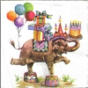 แนวภาพสัตว์ ช้างทรงเครื่องเล่นละครสัตว์ บนพื้นขาว เป็นภาพ 4 บล๊อค กระดาษแนพกิ้นสำหรับทำงาน เดคูพาจ Decoupage Paper Napkins ขนาด 33X33cm