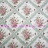 ผ้า Cotton พิมพ์ลาย สำหรับทำงานฝีมือ หรือบุชิ้นงาน - ลาย ช่อดอกไม้ในตาราง โทนเขียววินเทจ