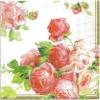 แนวภาพดอกไม้ ดอกกุหลาบหวาน บนพื้นขาว กระดาษแนพกิ้นสำหรับทำงาน เดคูพาจ Decoupage Paper Napkins ขนาด 33X33cm
