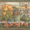 กระดาษสาพิมพ์ลาย สำหรับทำงาน เดคูพาจ Decoupage แนวภาำพ garden นกน้อยตัวอ้วนนั่งอยู่ในฝักบัวรดน้ำสังกะสี ข้างๆกระถางดอกทิวลิปสีเหลือง (ปลาดาวดีไซน์)