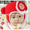 หมวกไหมพรมลายสีแดง ตกแต่งด้วยดอก น่ารักสไตล์เกาหลี