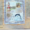 แนวภาพทะเล ลายเรือจับปลากับปลาโลมา บนชายฝั่ง ในกรอบพื้นสีเทาครีม เป็นกระดาษ 4 บล๊อค กระดาษแนพคินสำหรับทำงาน เดคูพาจ Decoupage Paper Napkins เป็นภาพ 4 บล๊อค ขนาด 25X25 ซม