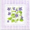 แนวภาพดอกไม้ ช่อดอก Violet Lilac กับกรอบลายแต่งสีม่วงหวาน เป็นกระดาษภาพ 2 บล๊อค กระดาษแนพคินสำหรับทำงาน เดคูพาจ Decoupage Paper Napkins เป็นภาพ 4 บล๊อค ขนาด 25X25 ซม