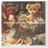กระดาษสาพิมพ์ลาย rice paper สำหรับทำงาน เดคูพาจ Decoupage แนวภาพ น้องหมีขนยาว กับ น้องหมีขนแดง เท็ดดี้ แบร์ teddy bear นั่งในชะลอมในห้องเก็บใบชาอบแห้ง (ปลาดาว ดีไซน์)