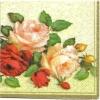 แนวภาพดอกไม้ เถากุหลาบบนพื้นครีม เป็นภาพครึ่่งแผ่น กระดาษแนพกิ้นสำหรับทำงาน เดคูพาจ Decoupage Paper Napkins ขนาด 33X33cm