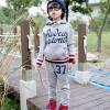 ชุดเซ็ทเด็ก เสื้อแขนยาวมีฮูทเห่ห์ๆ + กางเกงขายาว สไตล์เกาหลี (สีเทา)