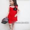 huanzhu kidsชุดเดรสแฟชั่นเด็ก สีแดง มีดอกไม้ประดับที่อก หรูสวย