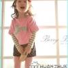 Huanzhu kids เสื้อแฟชั่นเด็ก2 ชิ้น เสื้อแขนยาวสีเทาขาว มีเสื้อคลุมสีชมพู สกีน Berry ด้านหน้า ผ้าเนื้อดีน่ารักสไตล์เกาหลี