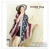 PR093 ผ้าพันคอแฟชั่น ผ้าคลุมไหล่ พิมพ์ธงชาติสหรัฐอเมริกา ขนาด กว้าง 100 ยาว 190 cm.