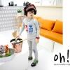ชุดเซ็ทเด็ก เสื้อแขนยาวคอกลม มีลายหุ่นยนต์ที่หน้าอก + กางเกงขายาว สไตล์เกาหลี