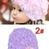 หมวกเด็กลายลูกไม้สีม่วง น่ารักสไตล์เกาหลี