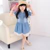 ชุดเดรสเด็กหญิง ผ้ายีนส์เนื้อนิ่ม ต่อลูกไม้สีขาวชายกระโปรง น่ารัก หวานๆสไตล์เกาหลี ญี่ปุ่น ค่ะ