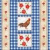 แนวภาพลายสัตว์ ลายแต่งไก่-ดอกไม้ ในกรอบลายสก๊อตสีน้ำเงิน เป็นภาพแนวตั้ง กระดาษแนพคินสำหรับทำงาน เดคูพาจ Decoupage Paper Napkins เป็นภาพ 4 บล๊อค ขนาด 25X25 ซม