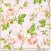 แนวภาพดอกไม้ กุหลาบเถา บนพื้นสีชมพู กระดาษแนพกิ้นสำหรับทำงาน เดคูพาจ Decoupage Paper Napkins ภาพกระจายเต็มแผ่น ขนาด 25X25 ซม
