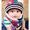 หมวกไหมพรม+ผ้าพันคอ สีแดงลายหมี สีสันสดใส