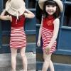 ชุดเดรสแฟชั่นเด็กสีแดง กระโปรงลายริ้วสีขาว-แดง สไตล์เด็กเกาหลี น่ารัก