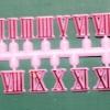 ชุดตัวเลขสำหรับประกอบนาฬิกา เลขโรมัน สีแดงขอบสีชมพู ตัวเลขสูง 10มม. อุปกรณ์ DIY