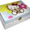 กล่องไม้สน มีล๊อค ลายน้องเหมียวน้อย Hello Kitty กอดเจ้าหมีน้อยเท็ดดี้ ตัวกล่องทำเป็นลายจุดสีฟ้า มาเอาใจแฟนๆ Hello Kitty โดยเฉพาะล่ะจร้า