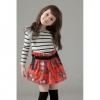 ชุดเดรส เด็กหญิงลายทางสีขาว-ดำ กระโปรงลายดอกสีแดง น่ารัก สไตล์เกาหลี มีขนาด100