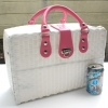 ชิ้นงานดิบ พลาสติกสาน ทำ Decoupage งานเพนท์ กระเป๋าเดินทาง ขนาดกลาง สีขาว หูหนัง สีชมพูเข้ม M