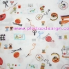 ผ้า Cotton พิมพ์ลาย สำหรับทำงานฝีมือ หรือบุชิ้นงาน - ลาย อุปกรณ์ตัดเย็บ Sewing Kit โทนแดง