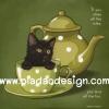 กระดาษสาพิมพ์ลาย สำหรับทำงาน เดคูพาจ Decoupage แนวภาำพ ภาพวาด ลูกแมวน้อยสีดำตาโตซุกตัวอยู่ในแก้วน้ำชาสีเขียวลายจุด มีคำคมวลีเด็ด (ปลาดาวดีไซน์)