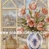 กระดาษสาพิมพ์ลาย rice paper สำหรับทำงาน handmade เดคูพาจ Decoupage แนวภาพ ดอกไม้สีส้มสดใสในแจกันลายครามใบใหญ่กะน้องนกน้อยนอกกรงทองรืมหน้าต่าง pladao design