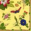 แนวภาพดอกไม้ ดอกไม้เล็กๆ กับเหล่าผีเสื้อ ภาพโทนสีเหลือง เป็นภาพลายกระจายเต็มแผ่น กระดาษแนพกิ้นสำหรับทำงาน เดคูพาจ Decoupage Paper Napkins ขนาด 33X33cm กระดาษรุ่นพิเศษ