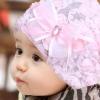 หมวกเด็กลายลูกไม้สีชมพู น่ารักสไตล์เกาหลี