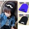 ฺฺBB033 หมวกไหมพรมเด็ก หน้าหมวกปักรูปหนวด มี 2 สี ดำ น้ำเงิน ใส่ได้ทั้งเด็กผู้ชาย และเด็กผู้หญิง