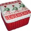 กล่องเก็บของ กล่องของขวัญ ผักตบชวาทรงจตุรัส แบบฝาครอบ ลายดอกกุหลาบแดง กับริ้วหัวใจ