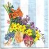 แนวภาพดอกไม้ เป็นช่อดอกไม้สีสดกับพื้นหลังแถบสีฟ้าขาว เป็นภาพ 4 บล๊อค กระดาษแนพกิ้นสำหรับทำงาน เดคูพาจ Decoupage Paper Napkins ขนาด 33X33cm
