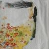 แนวภาพศิลปะ ลายเส้นเจ้าบ่าวเจ้าสาว กับ ชุดกระโปรงลายดอกไม้ บนพื้นขาว เป็นกระดาษ 4 บล๊อค กระดาษแนพคินสำหรับทำงาน เดคูพาจ Decoupage Paper Napkins เป็นภาพ 4 บล๊อค ขนาด 25X25 ซม
